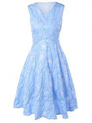 Floral Jacquard Bridesmaid Short Formal Dress - LIGHT BLUE