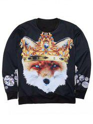 Round Neck 3D Rhinestone Crown and Fox Muscle Print Long Sleeve Sweatshirt