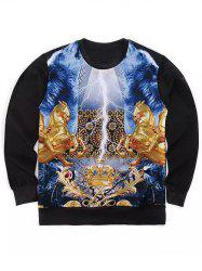 Round Neck 3D Symmetrical Golden Horses and Crown Print Long Sleeve Sweatshirt