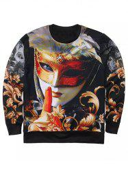 Round Neck 3D Floral and Mask Lady Print Long Sleeve Sweatshirt - BLACK XL