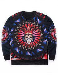 Round Neck 3D Mask Clown Print Long Sleeve Sweatshirt -