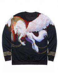 Round Neck 3D Golden Chain and Pegasus Print Long Sleeve Sweatshirt