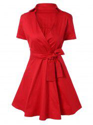 Vintage Bowknot Embellished Swing Dress - RED 2XL