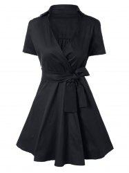 Vintage Bowknot Embellished Swing Dress - BLACK XL