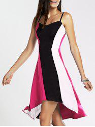 Spaghetti Strap Color Blocks High-Low Dress - Balnc + Noir + Rose