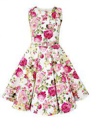 Vintage Sleeveless Floral Print Pin Up Dress - WHITE M