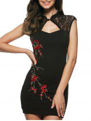 Embroidered Cut Out Cheongsam Bodycon Mini Dress -