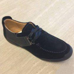 Lace-Up Stitching PU Spliced Casual Shoes ODM Designer - BLACK 40