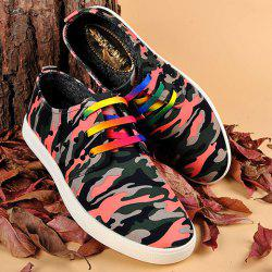 Rivet Lace-Up Camouflage Imprimer Souliers - Rouge