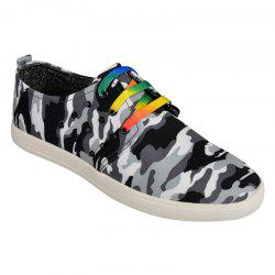 Rivet Lace-Up Camouflage Print Casual Shoes ODM Designer - BLACK