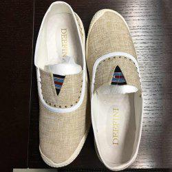Slip-On Rivet Linen Casual Shoes ODM Designer - BEIGE