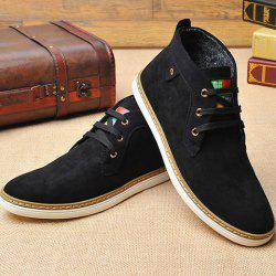 Mid Top Suede Lace-Up Casual Shoes ODM Designer - BLACK