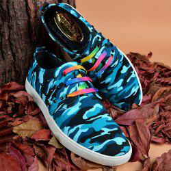 Rivet Lace-Up Camouflage Print Casual Shoes ODM Designer - BLUE 40