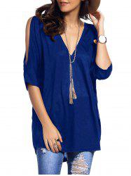 Cold Shoulder Asymmetrical Low Cut V Neck Tee - SAPPHIRE BLUE