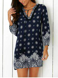 Tribal Print Casual Shift Dress - PURPLISH BLUE