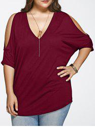 Plus Size Long Cold Shoulder Loose Fitting V Neck T-Shirt - WINE RED