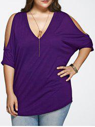 Plus Size Long Cold Shoulder Loose Fitting V Neck T-Shirt