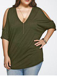 Plus Size Long Cold Shoulder Loose Fitting V Neck T-Shirt - ARMY GREEN