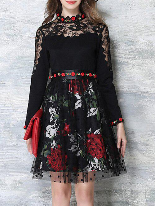 Sale Flower Embroidered Long Sleeves Lace Spliced Dress