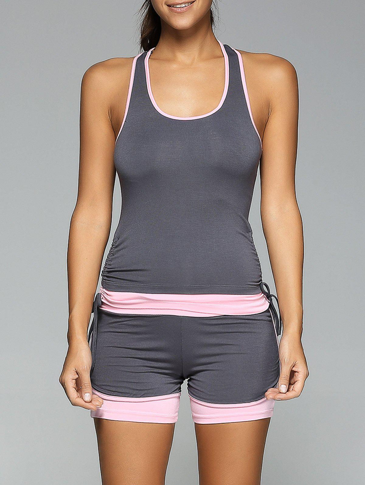 Store Racerback Side Drawstring Tank Top and Skinny Spliced Shorts Twinset