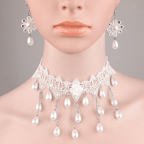 Tiered Lace Crochet Teardrop Fake Pearl Bridal Necklace SetJEWELRY<br><br>Color: PEARL WHITE; Item Type: Chokers Necklace; Gender: For Women; Material: Lace; Metal Type: Alloy; Style: Trendy; Shape/Pattern: Water Drop; Weight: 0.060kg; Package Contents: 1 x Necklace 1 x Earrings(Pair);