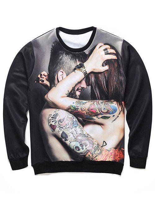 Shops Round Neck 3D Tattoo Couple Print Long Sleeve Sweatshirt