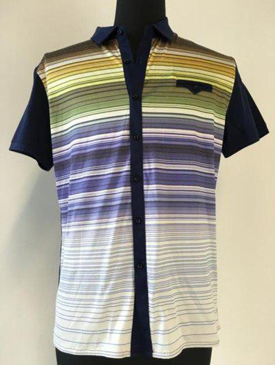 Fancy Multicolor Striped Spliced Breast Pocket Short Sleeve Shirt ODM Designer