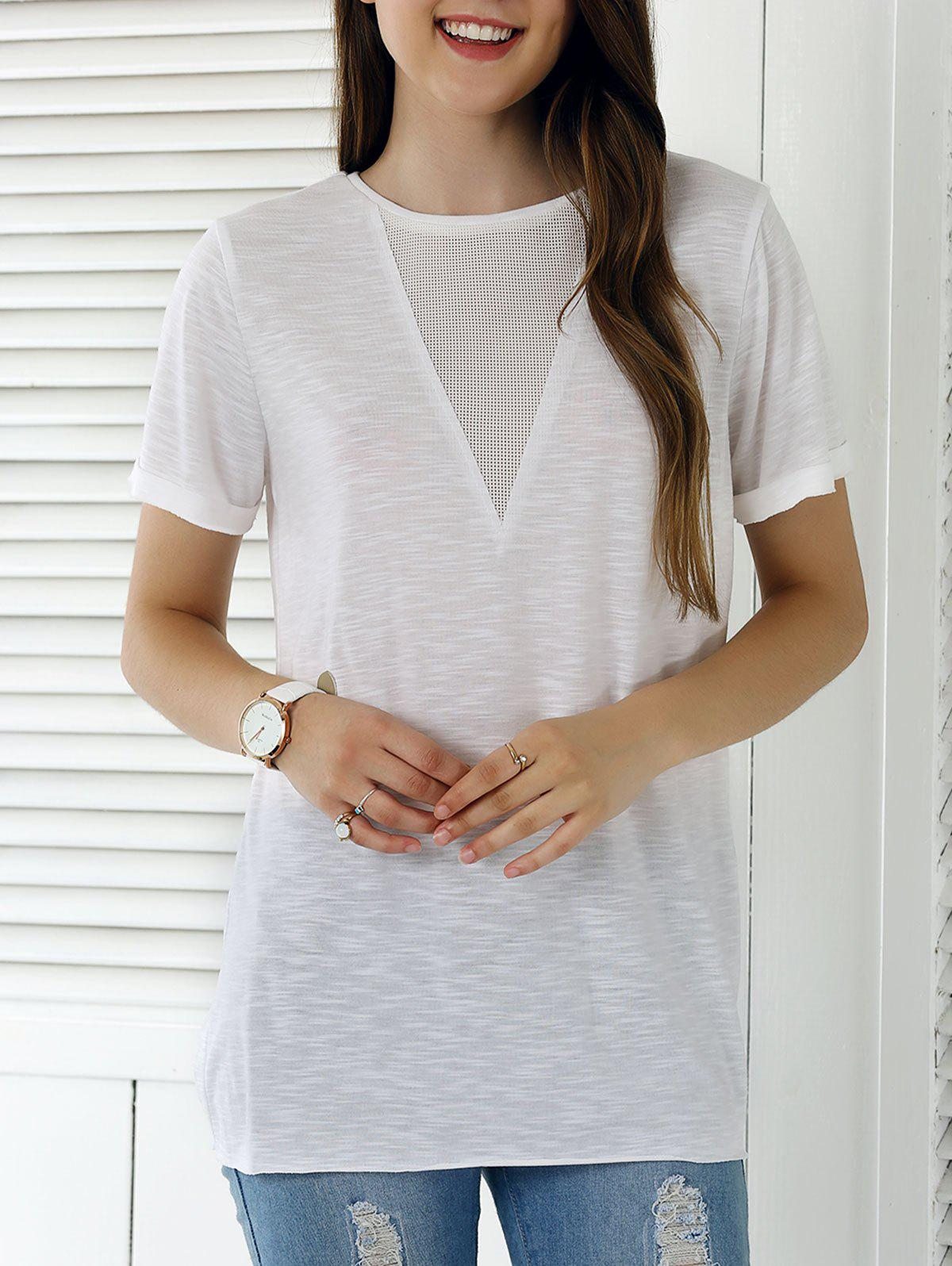 Solid Color Eyelet Long T Shirt 189047102