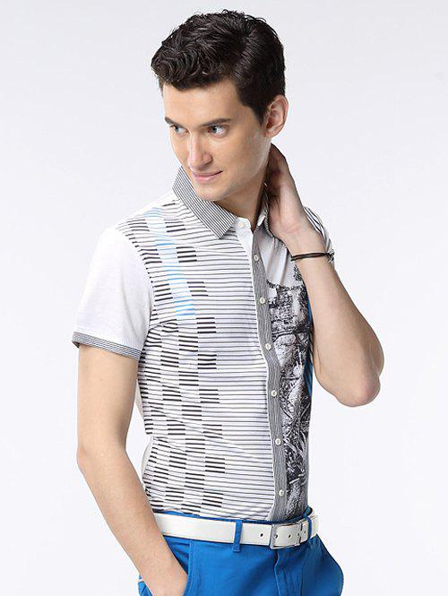 New Pinstriped Button-Up Turn-down Collar Short Sleeve Shirt ODM Designer