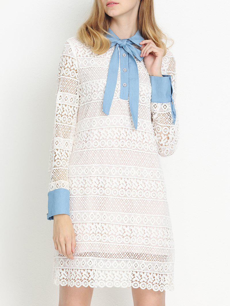Fancy Preppy Bowknot Tie Collar Semi Sheer Lace Dress