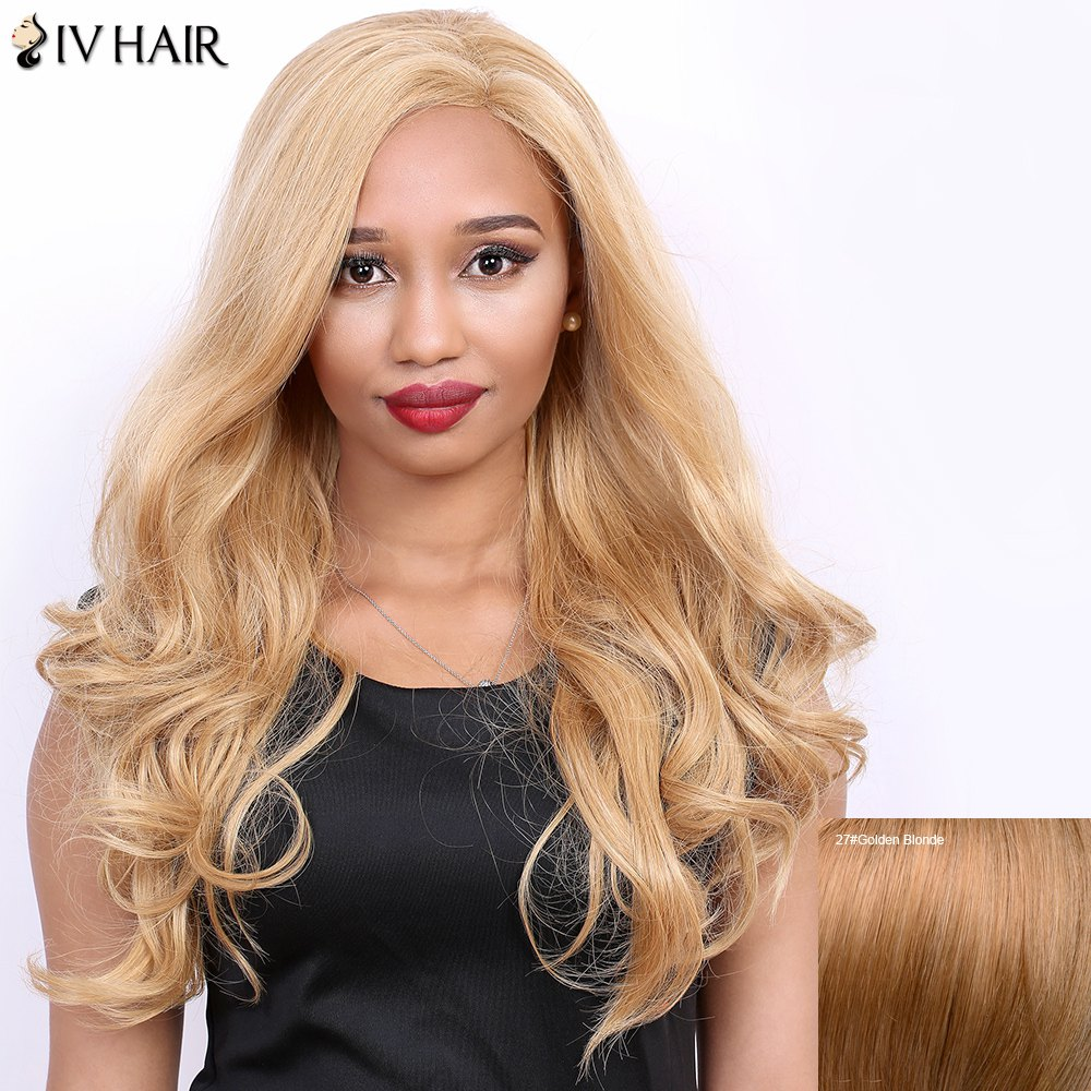 Discount Side Parting Real Natural Siv Hair Long Wavy Wig
