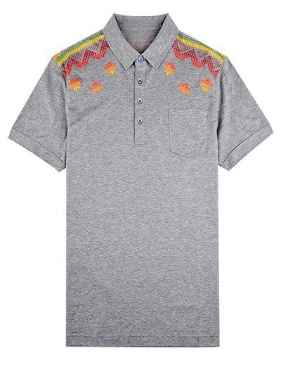 Fancy Turn-Down Collar Abstract Printed T-Shirt