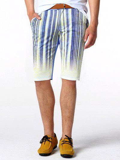 Zipper Fly Striped genou Shorts
