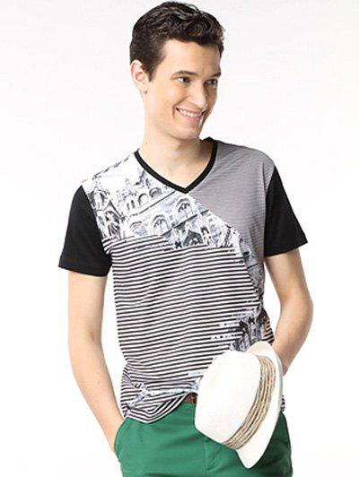 Hot V-Neck Building Printed Striped Spliced T-Shirt ODM Designer