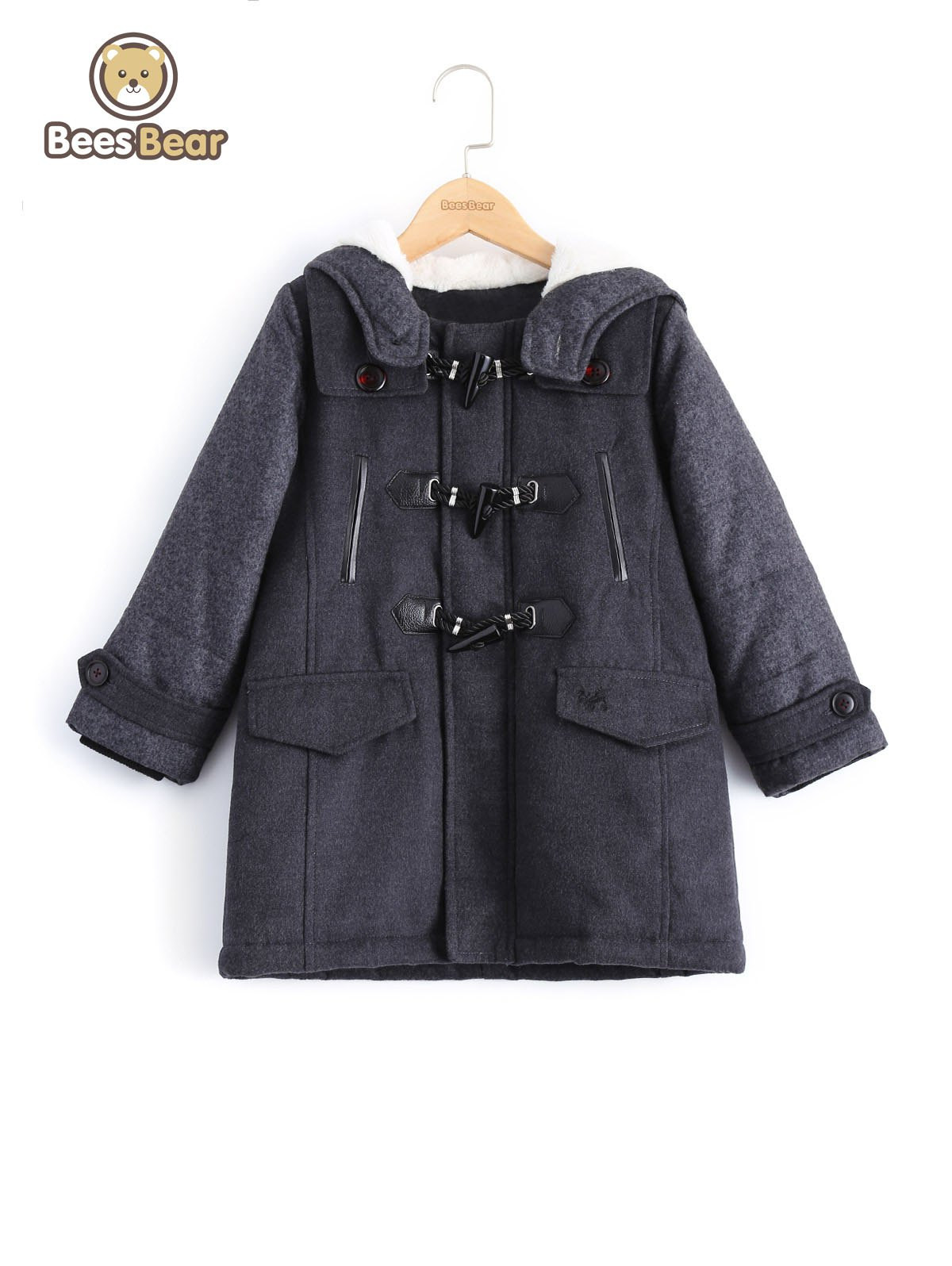 Sale Stylish Hooded Horn Button Thicken Wool Coat For Boy