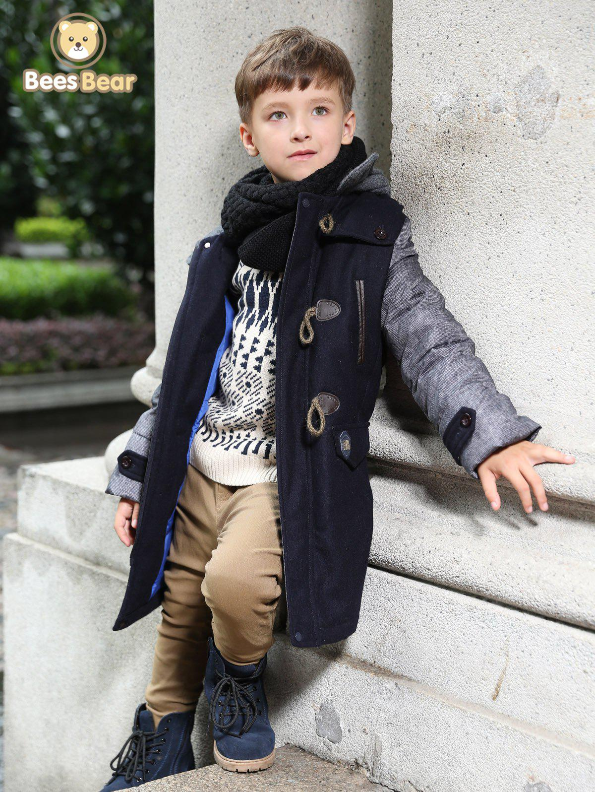 Trendy Stylish Hooded Horn Button Thicken Wool Coat For Boy
