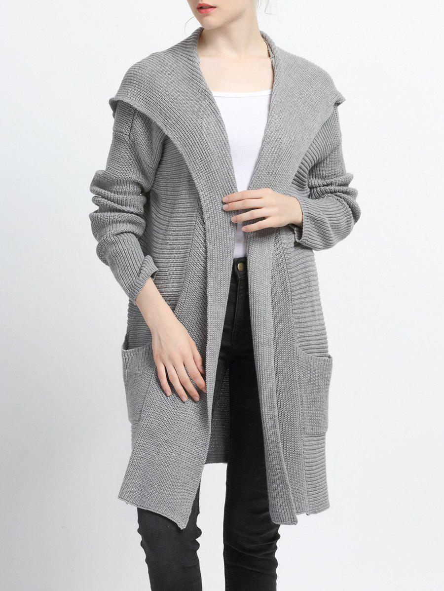 Pure Color Pocket design Cardigan à capuche Gris M