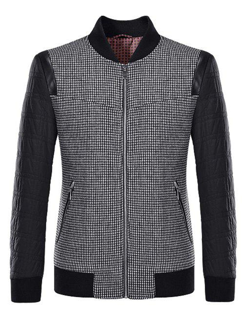 Petit pied de col Plaid Motif Splicing Jacket