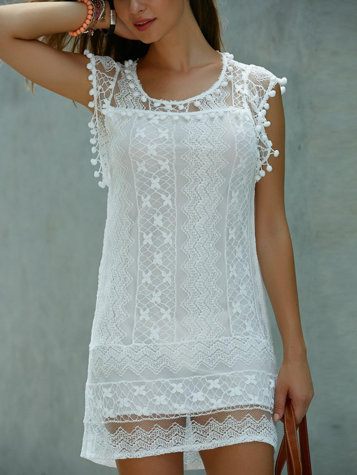 Affordable Scoop Neck Sleeveless Lace Shift Mini Dress