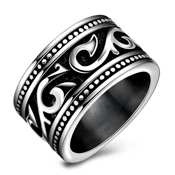Fashion Stoving Varnish Etched RingJEWELRY<br><br>Size: 7; Color: SILVER; Gender: For Men; Metal Type: Silver Plated; Style: Punk; Shape/Pattern: Geometric; Metal Color: Silver Plated; Weight: 0.0300kg; Package Contents: 1 x Ring;