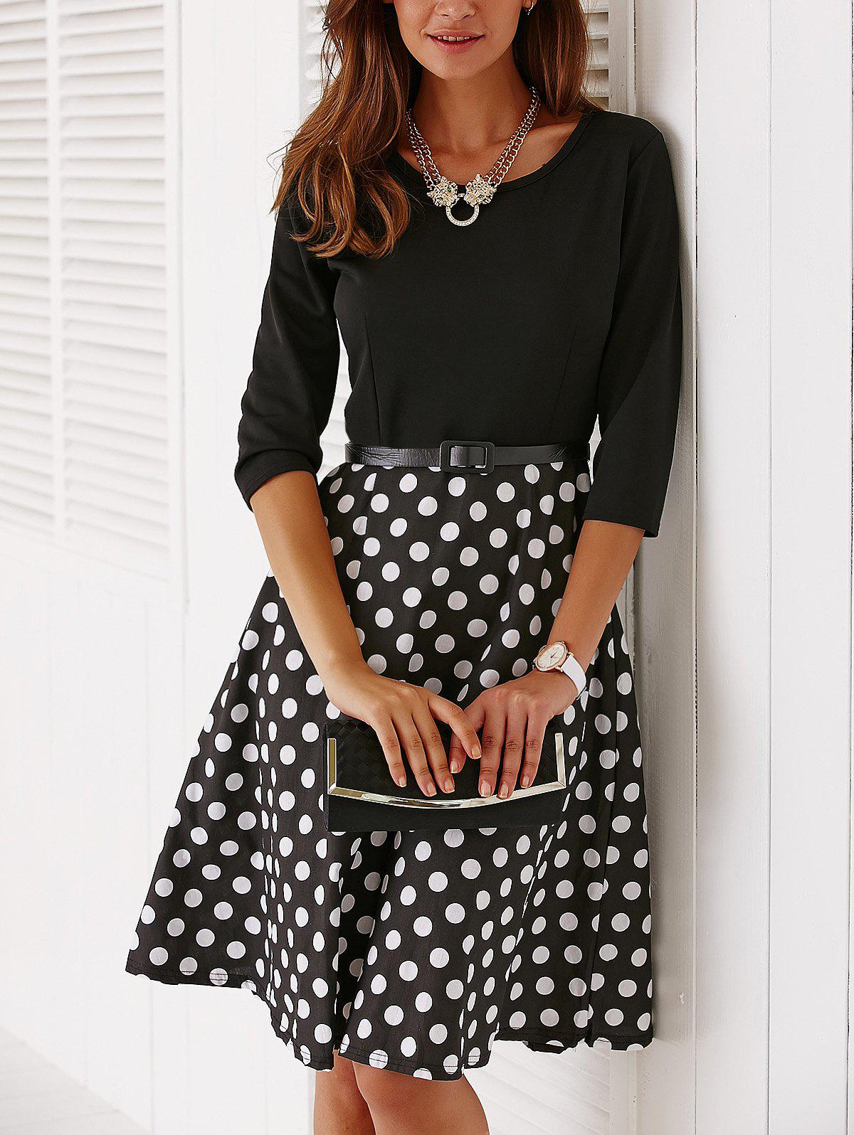Vintage Belted Knee Length Polka Dot DressWOMEN<br><br>Size: M; Color: BLACK; Style: Vintage; Material: Polyester; Silhouette: A-Line; Dresses Length: Mid-Calf; Neckline: Jewel Neck; Sleeve Length: 3/4 Length Sleeves; Pattern Type: Polka Dot; With Belt: Yes; Season: Summer; Weight: 0.242kg; Package Contents: 1 x Dress  1 x Belt;
