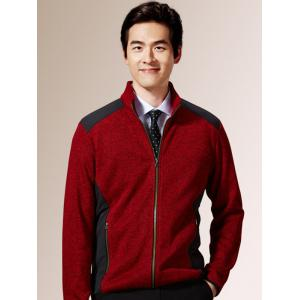 Zippered Color Splicing Napping Jacket ODM Designer - Red - M