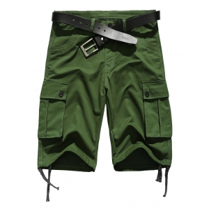 Zipper Fly Straight Leg Pockets Embellished Drawstring Design Shorts - Army Green - S