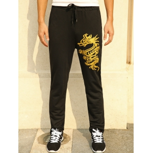 Lace-Up Golden Dragon Print Straight Leg Pants