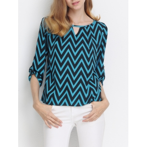 Hit Color Zig Zag Print Cut Out Blouse - Blue And Black - L