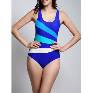 Color Block Skinny Backless One Piece Swimwear