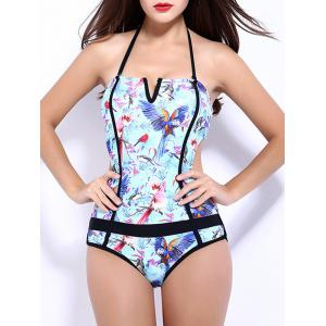 Halter Print V Shape Backless High Cut Swimwear