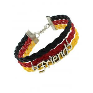 Faux Leather Woven Flag Friend Bracelet
