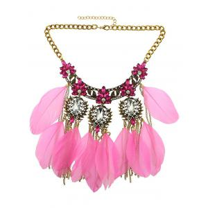 Rhinestone Faux Crystal Feather Leaf Necklace - Light Pink - W16 Inch * L47 Inch
