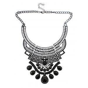 Faux Crystal Hollowed Water Drop Necklace